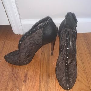 Leather and lace booties with studs- BCBG